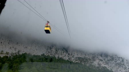 funicular : View from the cabin on the cable car, located in a mountain forest.