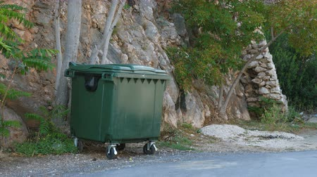 litter box : A dark green plastic trash bin on wheels stands next to the road in the mountains. Stock Footage
