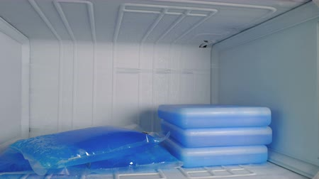 refrigerant : Ice packs of blue color lie in the freezer.