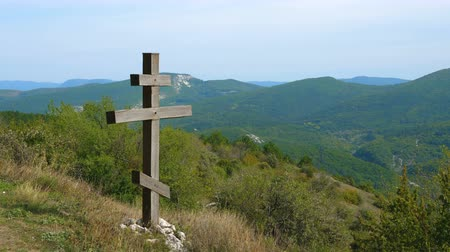 špičatý : Wooden Christian Orthodox eight-pointed cross in the mountains. Located next to the ancient male monastery.