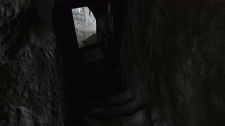 gruta : The character walks along a stone staircase hollowed out of a rock. Stock Footage