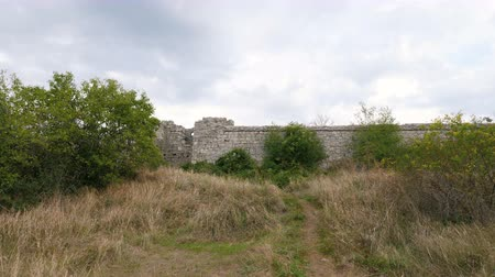jarmuż : The walls of the ancient medieval city overgrown with grass and shrubs.