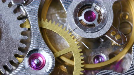 fogaskerék : The mechanism of old mechanical wrist watches close-up.