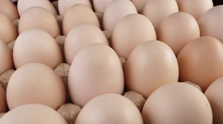 ингредиент : Fresh uncooked large chicken eggs in a paper box rotate on a stand.