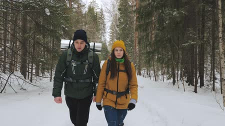 wooden path : A young man and a girl are walking along a winter forest path with backpacks on their shoulders. Slow motion. Stock Footage