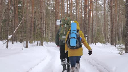 backpacken : Tourists, a young man and a girl, are walking along a winter forest path with backpacks on their shoulders and waving hands behind them. Slow motion.