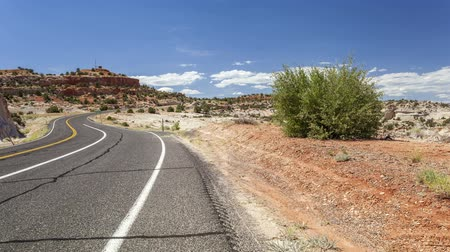 straight road : Winding road through empty wilderness in Utah, USA Stock Footage