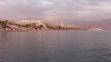 aqaba : Beautiful sunset over the Red Sea in Eilat, Israel, Middle East
