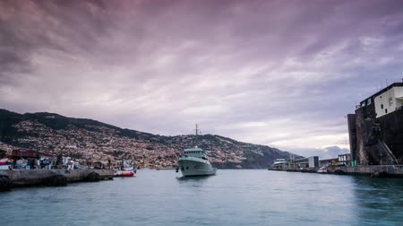 Ship coming to the port in Funchal, Madeira, Portugal