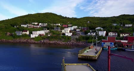 boathouse : Beautiful Petty Harbor, Newfoundland and Labrador, Canada Stock Footage