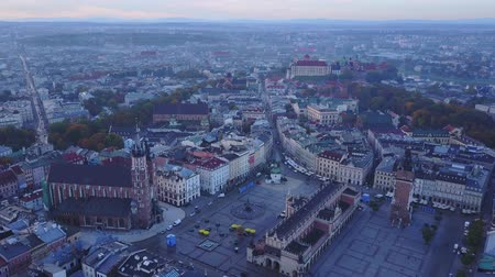 Aerial view of Krakows historic market square, Poland, central Europe