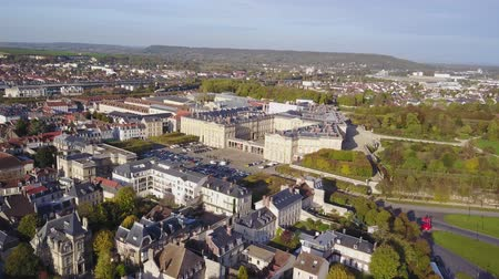 Aerial view of the Palace of Compiegne and the town in sunny day, Hauts-de-France, France