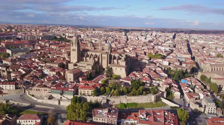 Aerial view of Salamanca with historic cathedral elevated over city, Spain