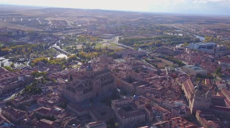 Historic cathedral elevated over the city of Salamanca, Castile and Leon, Spain