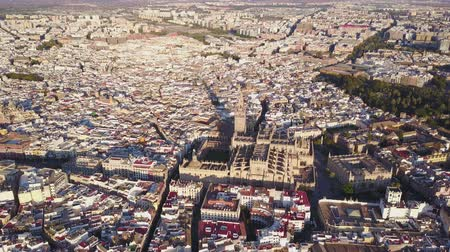 bullfight : Aerial view of the historic city and cathedral of Seville, Spain