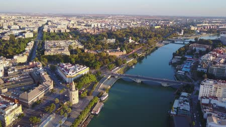 Aerial view of Torre del Ore and river Guadalquivir, Seville, Andalusia, Spain