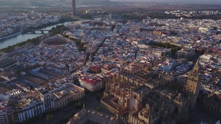 Aerial view of the historic city and cathedral of Seville, Spain