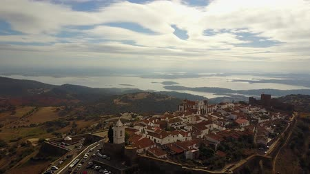 Aerial view of historic Monsaraz on the hill in Alentejo, Portugal