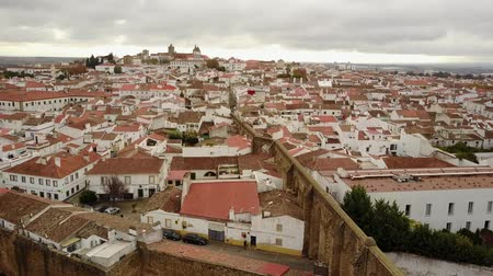 Historic Evora with white houses and red roofs and landmarks, Alentejo, Portugal