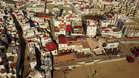Aerial view of architecture in Albufeira by Atlantic Ocean, Algarve, Portugal 影像素材