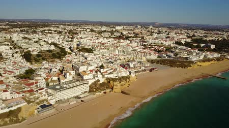 Aerial view of touristic Albufeira with wide sandy beach and cliffs. Atlantic Ocean, Algarve, Portugal 影像素材