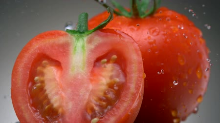 раскол : Water droplets on tomatoes, Slow Motion Стоковые видеозаписи