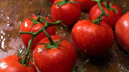 descanso : Extreme close-up tomatoes , Slow Motion Stock Footage