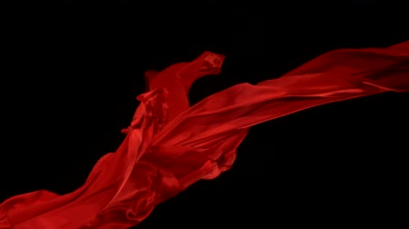 hedvábí : Flowing red velvet cloth, Slow Motion