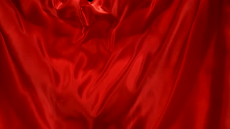 soft : Flowing red velvet cloth, Slow Motion