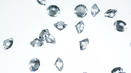 diamantes : diamond falling in the air shooting with high speed camera. Stock Footage