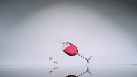 broken glass : Tipping over wine glass shooting with high speed camera, phantom flex. Stock Footage