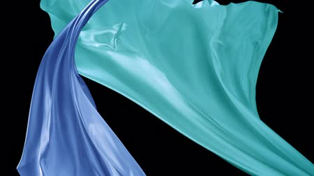 hedvábí : Blue and green colord fabrics flying in midair shot with high speed camera, phantom flex.