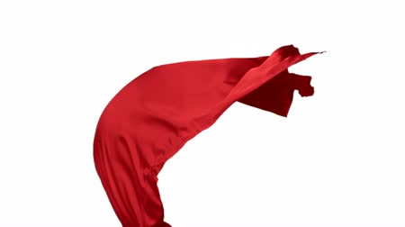 czerwone tło : Red fabric flowing in the air on white background shooting with high speed camera, phantom flex.
