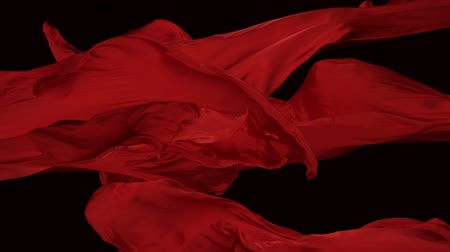 kumaş : Red color fabrics flying in midair shot with high speed camera, phantom flex. Stok Video