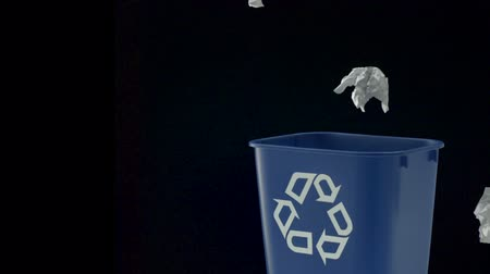 отходы : Tossing paper into trash can shooting with high speed camera, phantom flex. Стоковые видеозаписи