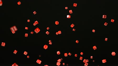 dobókocka : Red dice rolling and bouncing shooting with high speed camera, phantom flex.