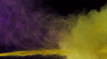 puder : Purple and yellow powder colliding in the air shooting with high speed camera, phantom flex.