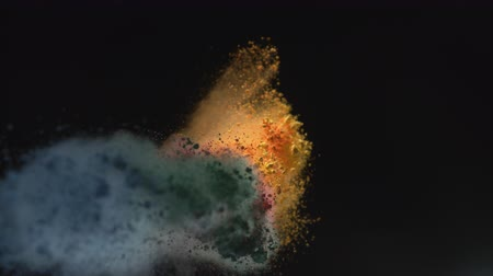 puder : Powder exploding against black background. Shot with high speed camera, phantom flex 4K.  Slow Motion. Unedited version is included at the end of clip.