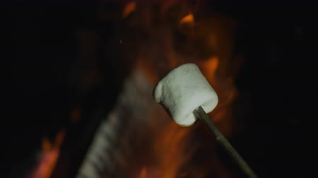 kamp ateşi : Roasting marshmallow. Shot with high speed camera, phantom flex 4K. Slow Motion.
