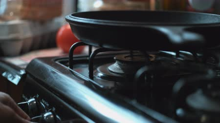 propane : Heating up the frying pan on the stove. Shot with high speed camera, phantom flex 4K.  Slow Motion. Unedited version is included at the end of clip.