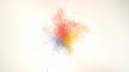 puder : Colorful powderparticles fly after being exploded against white background. Shot with high speed camera, phantom flex 4K.  Slow Motion. Unedited version is included at the end of clip.