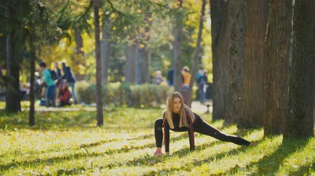 колготки : Fitness woman strength training doing workout at sunny autumn park. Fit caucasian sporty girl exercising her body
