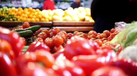grocery : Red bell peppers in grocery vegetable Department of supermarket Stock Footage