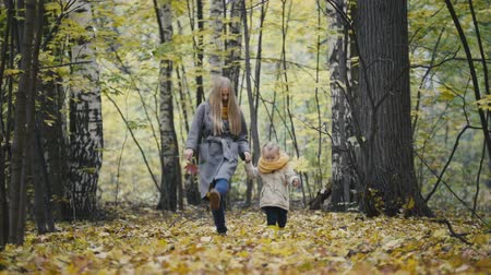 kicked : Little daughter with her mother walk in the autumn woods and kicked the yellow leaves