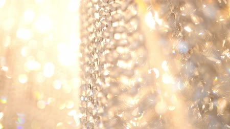 żyrandol : Crystal luxury fashion chandelier with bling shining reflection, macro Wideo