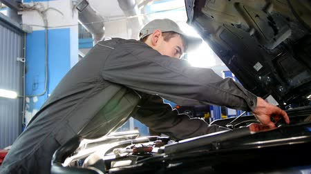 toolbox : Mechanic in overalls working in the garage - repairing luxury SUV in front of sun Stock Footage