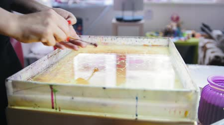 marbling : Process of painting red spots on water - Liquid Ebru art technics
