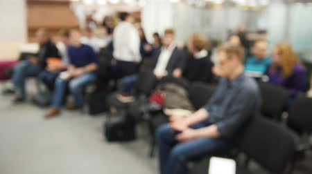 conference centre : Blurred background - business meeting - a lot of people sitting at a seminar or lectures - time-lapse Stock Footage