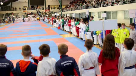 quimono : Kazan, Russia, 8 april 2017, Palace of single combats Ak Bars Kids karate competition WKF - parade of kids sportsmen