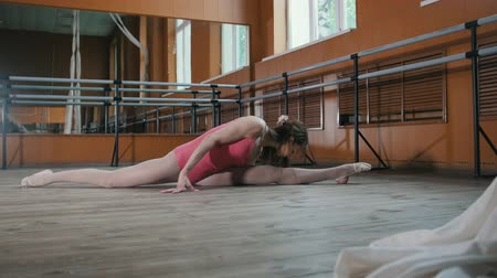 гибкость : Teen sport - model girl acrobatic sits on a splits